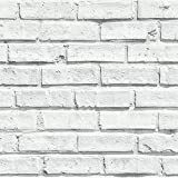 Arthouse White Wallpaper, Brick, 53 cm x 10.05 m