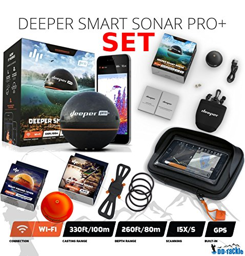 Deeper Smart Sonar Pro + Plus Set Wifi + GPS + Smartphone Halterung + Night Fishing Cover + Case Bathymetrische Karte