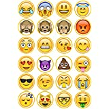 24 Emoji #2 Edible PREMIUM THICKNESS SWEETENED VANILLA, Wafer Rice Paper Cupcake Toppers/Decorations