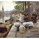 """Mercado de flores a lo largo de la Singel, Ámsterdam, Hans Herrmann, Papel artístico satinado de 255 g/m², Image size: 432mm x 460mm (17"""" x 18"""")"""