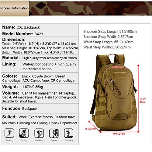 Huntvp Rucksack Schultasche Erwachsene Taktischer Trekkingrucksacke Wanderrucksäcke Reisetaschen Multifunktionale Kampfrucksack für Outdoor Sports Sportrucksack Schulrucksäcke Schwarz - 20L Schwarz