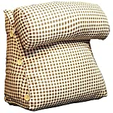 GUOWEI Nachttisch Kissen Kopfkissen Dreieck Gepolstert Keil Rückenlehne Sofa Lesen Unterstützung, 6 Farben (Farbe : White-Brown, größe : 45x25x42cm)