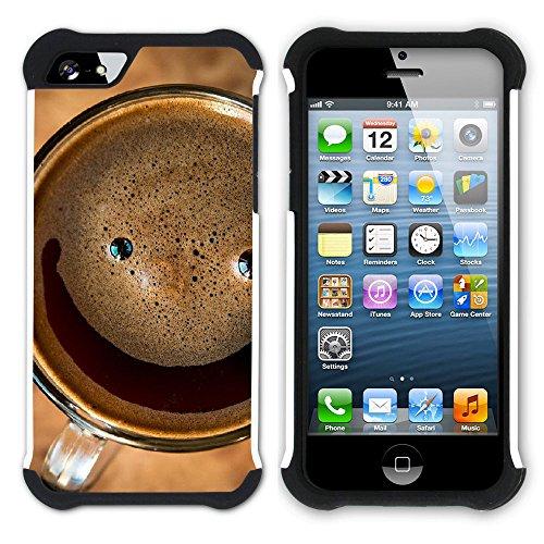 Graphic4You Kaffee Tasse Koffein Hart + Weiche Kratzfeste Hülle Case Schale Tasche Schutzhülle für Apple iPhone SE / 5 / 5S Design #8