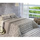 Algodón Blanco Ronaldo - Colcha bouti jacquard, para cama de 180 cm, 270 x 270 cm, 2 fundas de cojín, 60 x 40 cm, color gris