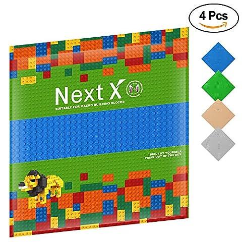 NextX 4 Stück Grundplatten Große Bauplatte Kompatibel mit Gebäude Spielzeug,25cm* 25cm Verdickung Bausteine Platten set 32 * 32Punkte (Grün+Blau+Grau+Khaki)