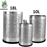 "Parasnath Stainless Steel Perforated Open Dustbin/Stainless Steel Garbage Bin/Small, Medium And Large/- 6 Litre (7""x10"") + 10 Litre (8'' X 12'') + 18 Litre (10'' X 14'')- Set Of 3 Pcs"