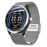 Fitness Tracker Smart Watch, Activity Tracker mit Pulsmesser, EKG-Sportuhr HRV-Bericht Blutdruck-Herzfrequenz-Test EKG + PPG-EKG-Smart-socken,Silver