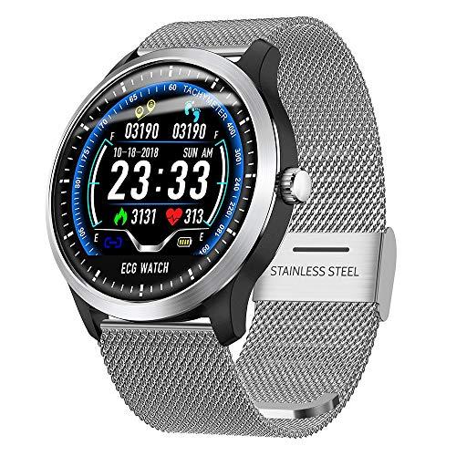 Fitness Tracker Smart Watch, Activity Tracker mit Pulsmesser, EKG-Sportuhr HRV-Bericht Blutdruck-Herzfrequenz-Test EKG + PPG-EKG-Smart-Armband,Silver