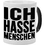 Tasse – Ich hasse Menschen (Schwarz): lustige Kaffeetasse mit Spruch – Farbwechseltasse mit Thermoeffekt – bedruckter…