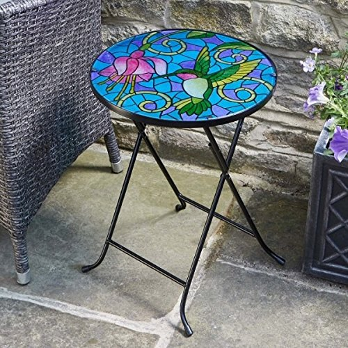 Folding Glass Garden Side Table Outdoor Patio Decking Hand-Painted Hummingbird Design