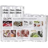 Sac Sous Vide Alimentaire 6 Rouleaux 15 x 300cm et 20 x 300cm Compatible avec n'importe quelle scelleuse sous vide pour…