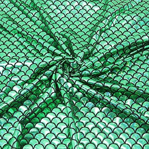andex Stoff Fish Scale 4Way Stretch Laser Knit Reinigungstuch 147,3cm breit von der Yard grün ()
