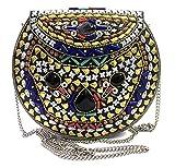 gauri Bolso étnico Bolso de metal Embrague de latón Monedero vintage Embrague de piedra Bolso hecho a mano, monedero de metal, bolsos indios, cartera de boda, bolso de eslinga nupcial