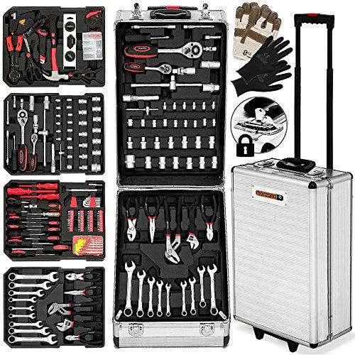 Monzana® Werkzeugkoffer XXL gefüllt Set 929tlg | Qualitätswerkzeug - Werkzeugkasten Werkzeugkiste Werkzeugtrolley silber