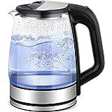 Slabo Waterkoker glas met LED verlichting, 2200 Watt | 1,7 Liter, geruisloos - zwart | zilver