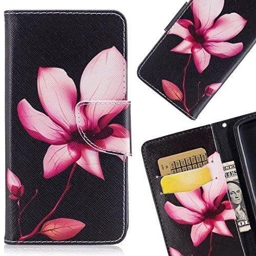 LEMORRY Huawei P9 lite Mini Etui Gaufré Cuir Flip Portefeuille Pochette Mince Bumper Protecteur Magnétique Fente Carte Silicone TPU Housse Cover Coque pour P9 lite Mini / SLA-L02, SLA-L22, SLA-L03, Fleur