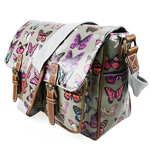 Miss Lulu , Sac pour femme à porter à l'épaule Butterfly Grey