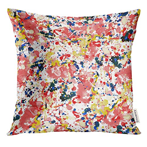 Throw Pillow Cover Colorful Pollock Abstract Watercolor Splashes Design Expressionism Decorative Pillow Case Home Decor Square 18x18 Inches Pillowcase