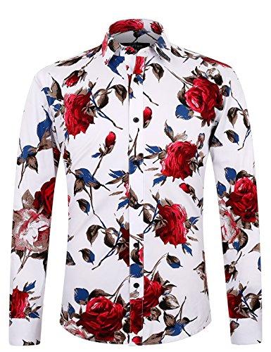 Aptro uomo 100% cotone casual floreale camicia a manica lunga #1925 s