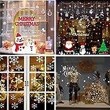 Shanke 4 Pagina Vetrofanie Adesive Natalizie per Finestre Fiocco Pupazzo Neve Adesivi Natale Vetrine Negozi Porta Vetro Wall Sticker Rimovibile Decorazione Casa Addobbi Natalizi Fai da Te,50x70cm