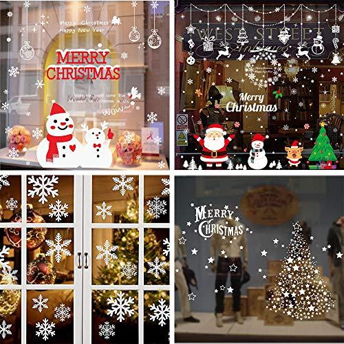 Shanke 4 seiten fensterbilder weihnachten Fensterdeko Schneeflocken mit weißen Punkten-Statisch Haftende Aufkleber (Effektdiagrammgröße 90x70cm Jeder)