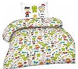 Optima Kind Baby Bettwäsche Set 2-teilig Biber Baumwolle Bettbezug Decke 100x135cm Kopfkissenbezug 40x60cm Weiß Grün Gelb Rot Märchen Figuren