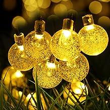 Guirnalda de Luces Solar exterior Cadena de luce 6M 30 LED Easternstar, Diseña en bola de cristal, 2 Modo Iluminación, Impermeable para la Fiesta como Luz Ambiente, utiliza en casa, jardín, patio, camino, etc. Color Amarillo