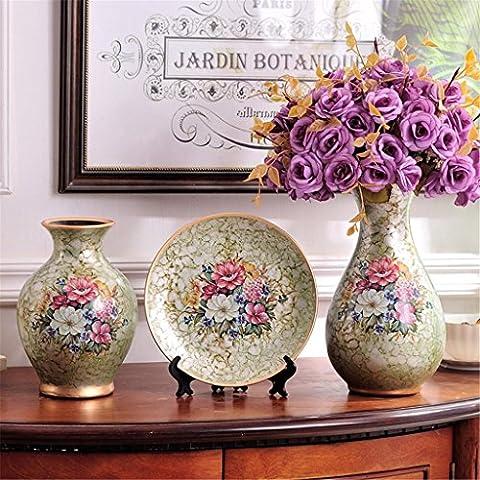 Style européen avec fleurs Vase céramique Creative Marry Luxueux Cadeau Arrangement de fleurs trois Ensembles Home Salon Décoration Flowerware Décorations Bouteille de beauté Salon Étude Chambre à coucher Bureau
