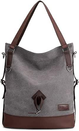 JOSEKO Canvas Tasche Damen Rucksack Handtasche Segeltuch Schultertasche Stilvolle Vintage Umhängentaschefür Reise Outdoor Schule Einkauf Alltag Büro (Hellgrau#01)
