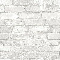 NuWallpaper - Papel pintado, pelar y pegar, diseño de ladrillos, color blanco y gris