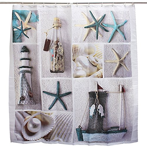 eshoo-decorative-sea-world-seashell-sandy-beach-starfish-fabric-shower-curtain