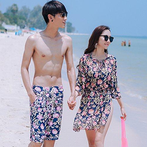 ZHANGYONG*Paare Badeanzug Stahl- und Grafiken thin Saika skirted Bikini 3 stück Resort rosa sammeln, Badekleidung Männer, L, blau (3 Rosa Stück Carters)
