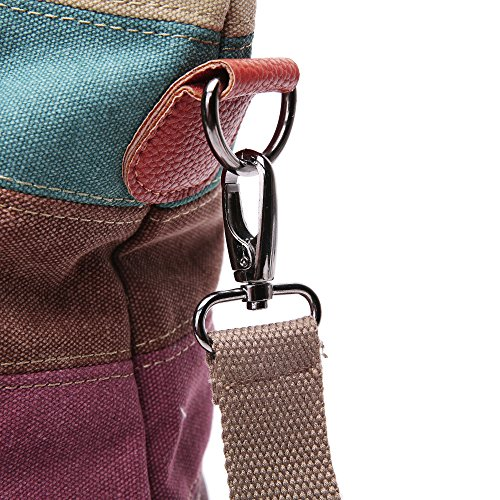 Women Canvas Cross Body Stripe Pattern Totes Shoulder Bags