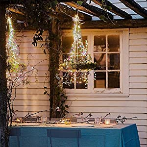 Morecoo String Lights,33ft/10M 100 LED Warterproof Fairy Lights 7 Colors Flashing Automatic with 5V DC Adapter Garden Wedding Party Christmas Decoration from MORECOO