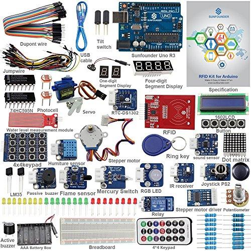 Preisvergleich Produktbild SunFounder RFID Learning Kit V2.0 Arduino Starter Kit Beispielprojekte für Arduino Einsteiger Uno R3 Mega Nano Jumper Kabel Sensoren Breadboard Leiterplatten