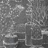 Stoff Meterware Baumwolle Kaktus Kakteen Sukkulenten Grau
