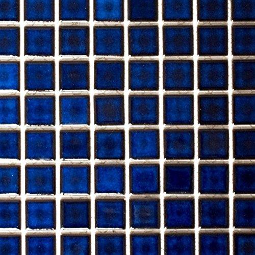 Mosaik Fliese Keramik kobaltblau glänzend für WAND BAD WC DUSCHE KÜCHE FLIESENSPIEGEL THEKENVERKLEIDUNG BADEWANNENVERKLEIDUNG Mosaikmatte Mosaikplatte