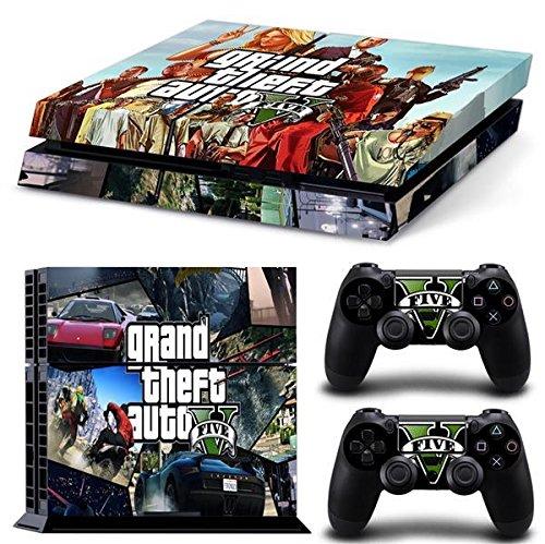Playstation 4 + 2 Controller Aufkleber Schutzfolie Set - GTA V (6) /PS4