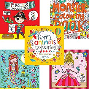 Rachel Ellen Children's Colouring Books Party Pack - Set Of 5 Books - Perfect As Party Presents Or For Travelling