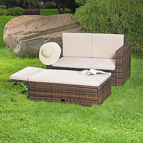 Gartenmöbel Lounge Sofa mit klappbarer Bank / Tisch in braun aus Polyrattan - 2