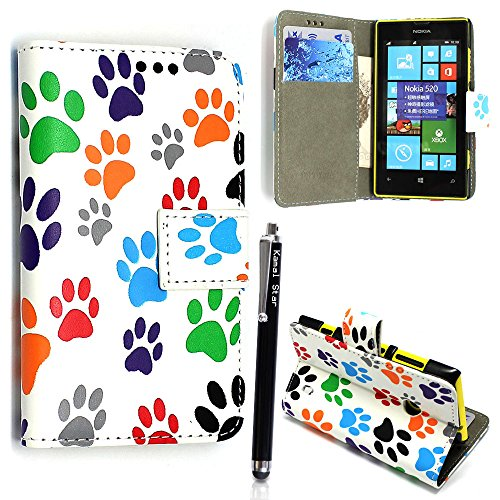 NOKIA LUMIA 520 CARD POCKET PU LEATHER BOOK FLIP CASE COVER POUCH + FREE STYLUS (Multi Dog Cat Paw Book) (520 Nokia Silicon Case)