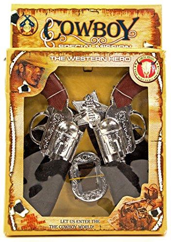Spielzeugpistolen Cowboy Set mit Sheriff-Stern Halfter und Gürtel Wilder Westen Kostüm