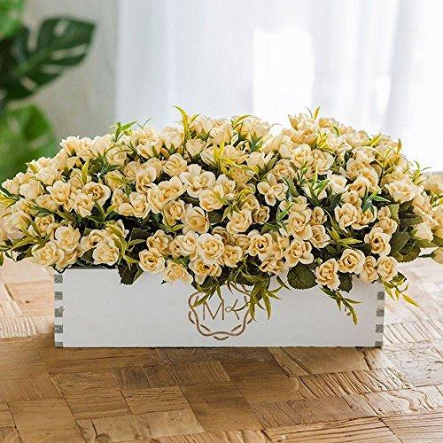Flinfeays fiori artificiali fake flower creative wooden fence diy gift wedding party window kitchen office home decoration wooden pot flower arrangement yellow flower-23