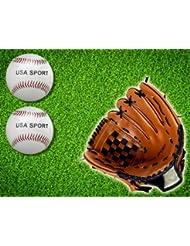 kh security Baseballhandschuhe Baseballset (Handschuhe, 2 Basebälle) - Guantes de béisbol, color marrón, talla 11,5 pulgadas