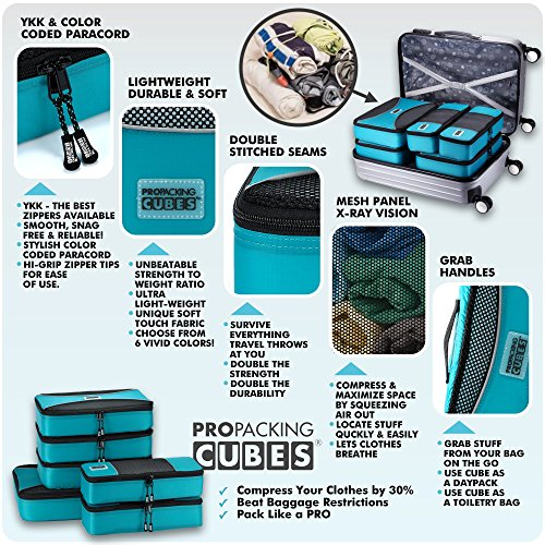 PRO Packing Cubes | 6 Piece Travel Packing Cube Value Set | 30% Space Saver Bags | Ultra Lightweight | Great for Duffel Bags, Carry on Luggage, and Backpacks (Aqua Blue)