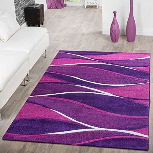 Designer Alfombra Toledo Modern jaspeado con rayas en color lila y morado crema, 120 x 170 cm
