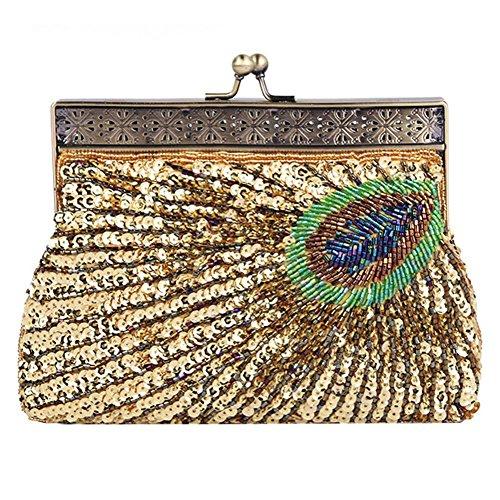Borsa Vintage Pochette Da Sera Con Paillettes E Paillettes Per Borse Da Sera. 22 X 14 X 4 Cm . Gold . One Size