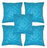 ethnique indien fabriqué à la main Housse de coussin avec broderie et miroir travail Lot de 5, 43x 43cm (Bleu ciel)