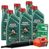 6x 1 L = 6 Liter Castrol Magnatec Diesel 5W-40 DPF Motor-Öl inkl. Ölwechsel-Anhänger und Einfülltrichter