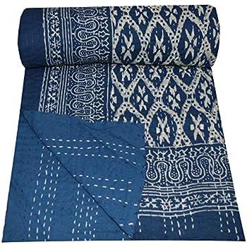 Yuvancrafts Indien Fait /à la Main Kantha Traditionnel Paisley Imprim/é Pur Coton Kantha Couvre-lit Couverture Gudari Couvre-lit